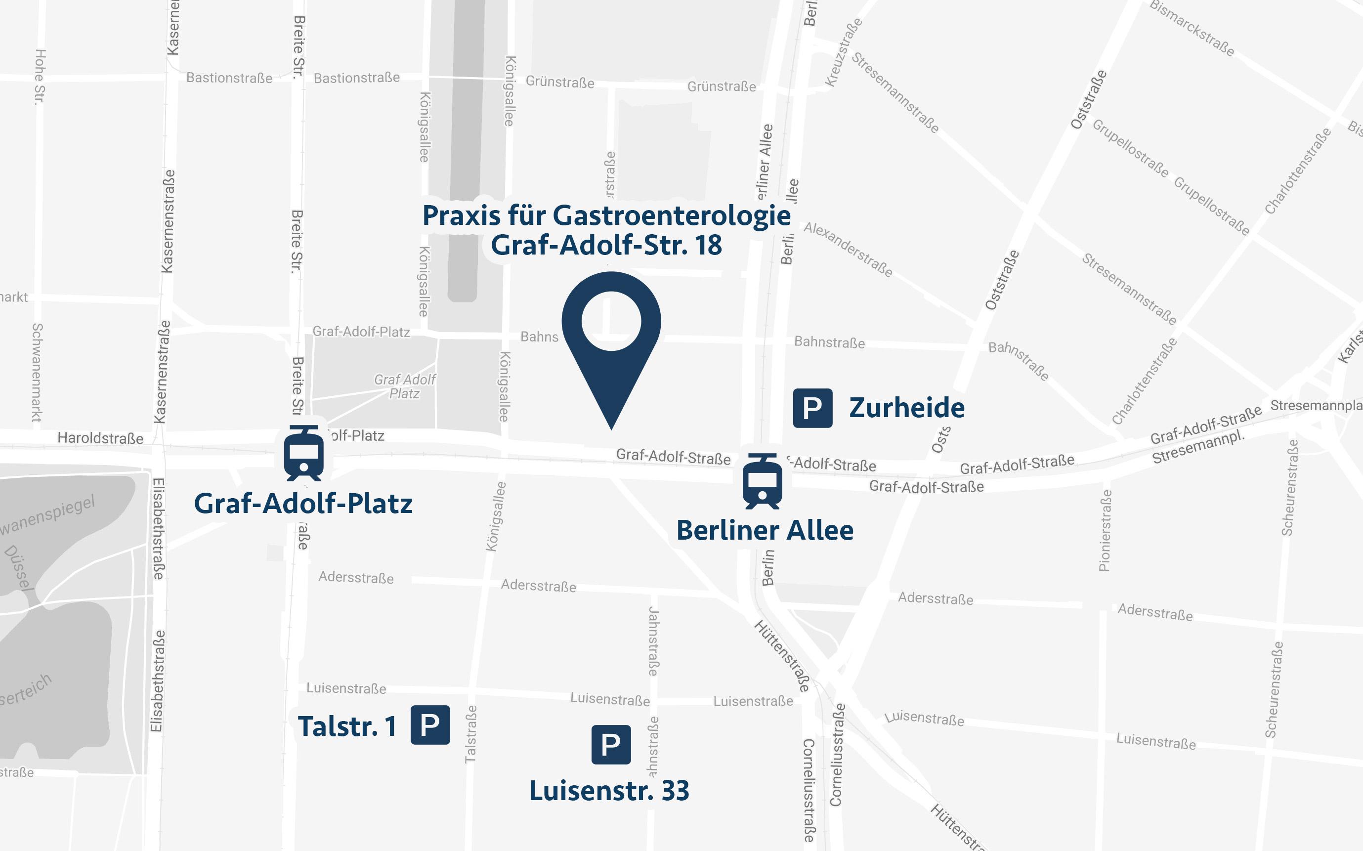 Anfahrt Praxis für Gastroenterologie Düsseldorf